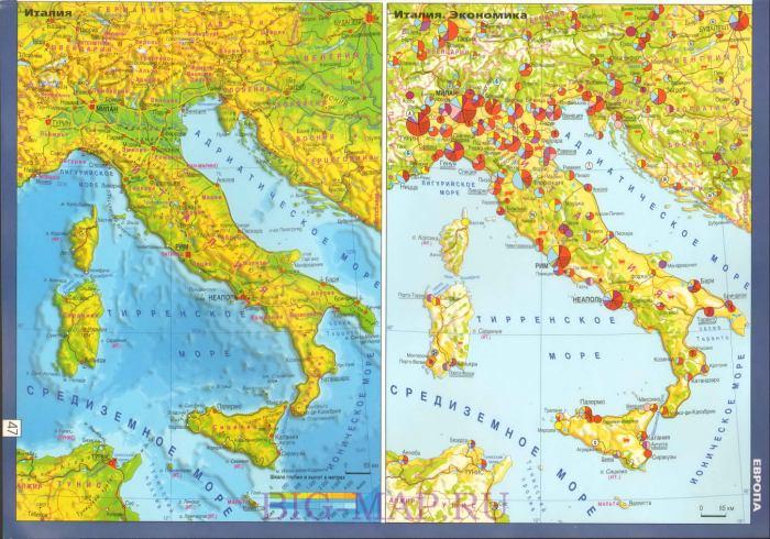 Карта италии географическая