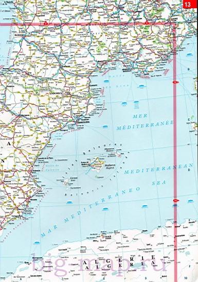 Карта автодорог испания и португалия